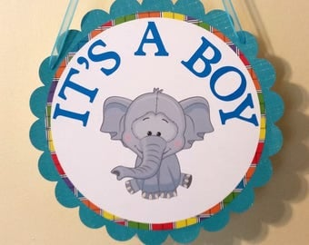 Hospital/shower door hanger, baby boy door sign, welcome baby sign, Its a boy door sign, elephant door sign