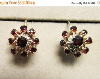 On Sale Vintage Estate Mid Century 10K Flower Garnet Drop Earrings