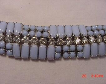 Vintage Blue Thermoset & Rhinestone Bracelet  18 - 155