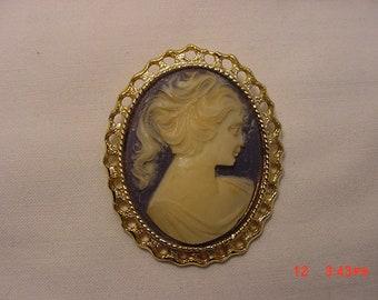 Vintage Blue & White Cameo Brooch  18 - 695