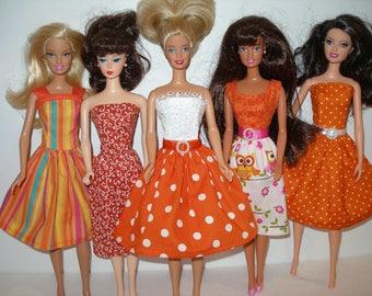 Handmade Barbie clothes - mixed lot of 5 orange print dresses