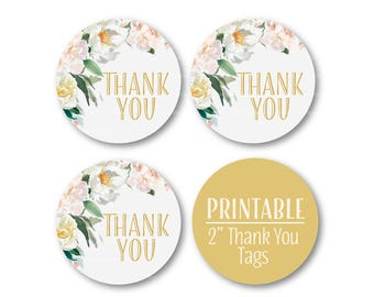 Pastel Floral Thank You Circles, Baptism Thank you, Christening Thank You Tags, Printable Stickers - 9026