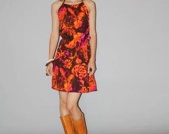 On SALE 35% Off - 1960s  Floral Orange Hawaiian Mod Mini Graphic Tropical  Summer Sundress Dress   - 60s Hawaiian Dress - WD0868