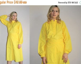 On SALE 35% Off - Minimalist Vintage 1980s Bright Yellow Blouse and Skirt Set - 80s Clothing - WV0008