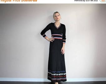 On SALE 35% Off - Vintage 1960s Ethnic Mexican Festival  Black Knit Novelty Graphic Maxi Dress - Sixties Maxi Dresses - 60s Clothing - WV027