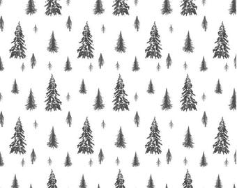 Black White Crib Sheet -Woodland Bedding Pine Tree Fitted Sheet -Mini Crib Sheet -Changing Pad Cover -Neutral Nursery Bedding Set Woodland