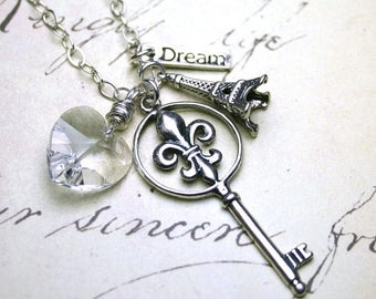ON SALE Fleur de Lis Key Pendant - Silver Key and Eiffel Tower Necklace with Swarovski Crystal Hearts - All Sterling Silver