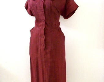 Vintage 50s 60s Maroon Day Dress - Short Sleeve 1950s Merlot Day Dress - Rust Brown Rockabilly Dress by Joan Curtis - Medium to Large