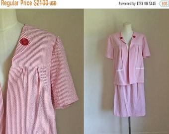 20% off SALE 50 Percent OFF...last call // vintage pinstriped dress set - CANDY Striped seersucker jacket & skirt set / M-L