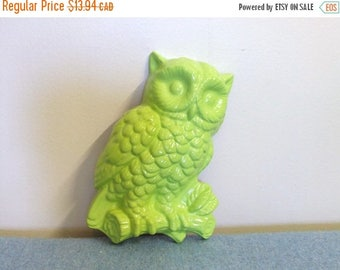 20% SALE Lime Green Owl Ceramic Wall Hanging
