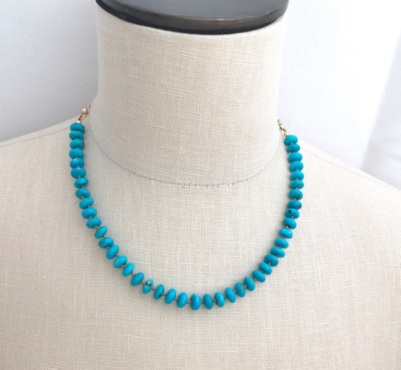 Kingman Turquoise Necklace Silk Knotted Gold Filled and One Garnet