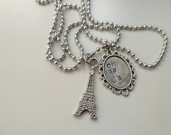 Paris - Tour Eiffeil -  charm with handstamped charm OH LA LA - long chain