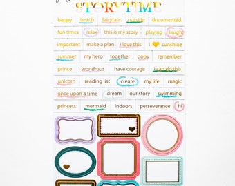 "Gold-foil Accented Tiny Word and Label Stickers - June 2017 ""Storytime"" collection"
