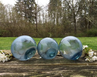 Japanese Glass Fishing Floats, Shades of Blue, Alaska Beachcombed