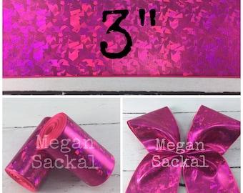 """3yd - 3"""" Solid Shocking Pink Laser Foil Ribbon"""