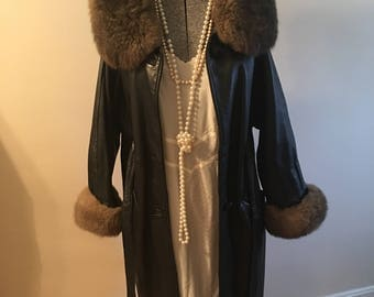 Vintage 60s Fur Trimmed Black Leather Empire Waist Ladies Coat