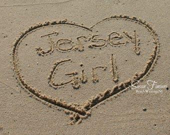 Jersey Girl on the Jersey Shore Beach Art Heart in Sand Photo