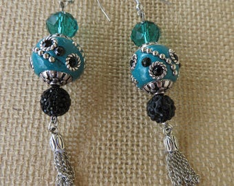 Teal And Black Mixed Textures Bead And Chain Tassel Statement Earrings