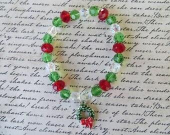 Crystal Beaded Christmas Bracelet With Wreath Charm