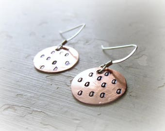 Spotted Copper Earrings, Stamped Earrings, Copper Dangles, Copper Sterling, Copper Earrings, Metalwork Copper, Small Dangles, Copper Jewelry