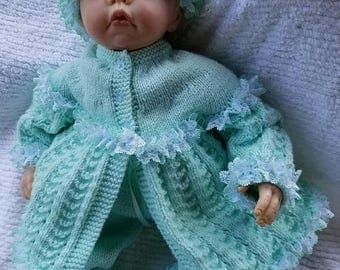 Knitted Primrose Baby Sweater Set-Mint-0-3 Months-Reborn Doll Set-Handmade Infant 4 Piece Set