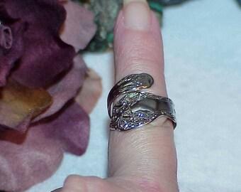 Sterling Silver Floral Rose Spoon Ring Sz 7 Adjustable Nos Vintage 5.6gr Signed Uncas Sterling