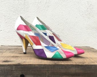 80s Mr Seymour Stuart Weitzam Mesh White Pumps Geometric Colorful Wearable Art High Heels Ladies Size 7.5AA