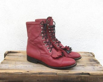 SALE Red Leather Lace Boots Ladies Lacer Rodeo Kilted Grunge Hippy Boho  Boots Ladies 8-8.5