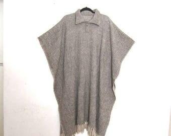 20% Off Sale Poncho Wool Blanket Grey Plaid Navajo  OSFM