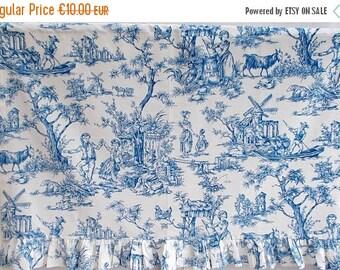 "SALE 10% OFF Small Vintage Toile de Jouy Curtain. Blue & White Made in Paris Toile ""NORMANDIE"" Exclusive Grand Teint Paris 1950's     (f18)"