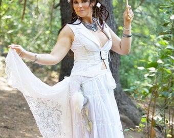 White Lace Steampunk Bustle,White Festival Belt,Alternative Wedding,Boho Belt,Steampunk Wedding,One Size Lace Bustle,Burning Man Clothing