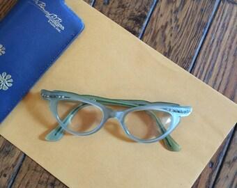 Vintage 1950's Selecta France Cateye Cat Eye Rhinestone Glasses Green