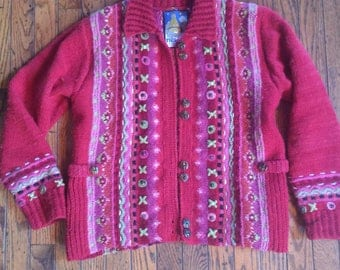 Vintage Women's Newari Wool Nepal Icelandic Design Sweater Size Small Medium