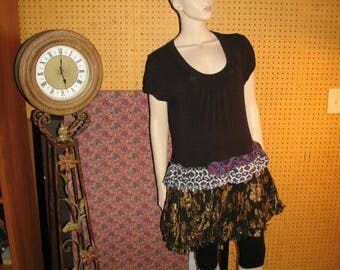 OOAK Bohemian Tunic Tunic Upcycled Top Dress Reconstructed Tunic Shirt M-L
