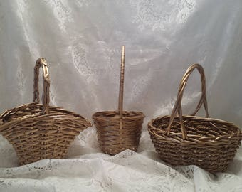Flower Girl Baskets - Gold Wicker Baskets - Wedding Baskets - CHOICE