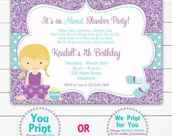 almost a slumber party birthday invitation pretend sleepover party