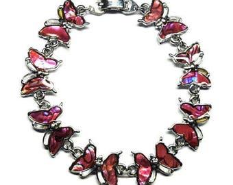 Genuine Paua Sea Shell Pink Butterfly Bracelet