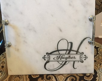 Etched marble/granite cheese board  personalized