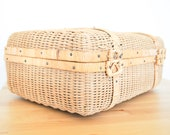 Vintage Wicker Suitcase • Woven Rattan Luggage • Straw Picnic Basket • Shabby Chic Cottage • French Country Decor • Storage Organization Box