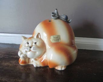 Vintage 1970's QQ Japan Comical Ceramic Cat & Mouse Bank