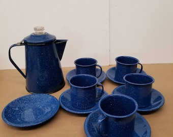 Vintage Blue Enamelware Coffee Percolator with Cups and Saucers