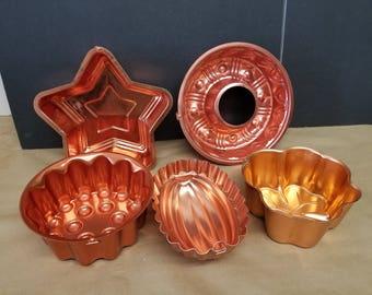 Set of 5 Vintage Copper Molds - Instant Collection
