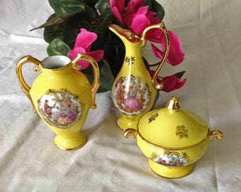 Limoges  Miniature Trio, Mint Condition, Bright Yellow Fragonard Sugar, Creamer and Vase, Limoges Courting Couple Sugar Creamer Vase