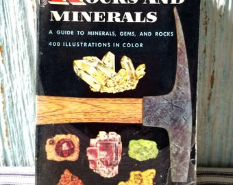 Vintage Childrens Golden Book Nature Guide ROCKS & MINERALS 1957, Guide to Minerals Gems Rocks, Vintage Ephemera