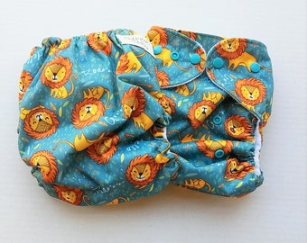 One Size, cloth diaper cover, fleece lined PUL with AI2 option, lions, roar, jungle