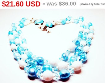 Summer Sizzler Sale Vintage Multi Strand Necklace - Light Turquoise Blue & White Beads - Triple Strand Beaded Adjustable Necklace - Signe...