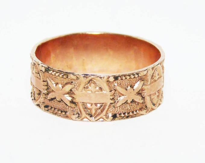Victorian Civil War Era Band, 9K Rose Gold Ring, Signed XXX, Size 9 1/2 US, Intricate Detail, Antique 1850 - 1870s, Mens or Womens Jewelry