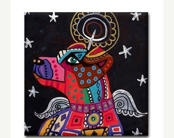 45% Off Today- Jack Russell Angel art Tile Ceramic Coaster Mexican Folk Art Print of painting by Heather Galler dog