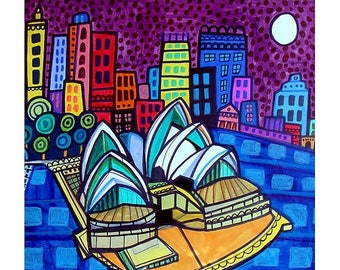 Sydney Skyline art Tile Ceramic Coaster Mexican Folk Art Print of painting by Heather Galler City Australia Opera House