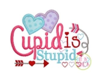 Valentine's Shirt-Cupid is Stupid-Toddler Shirt-Valentines Applique Shirt-Personalized shirts-Sample sale